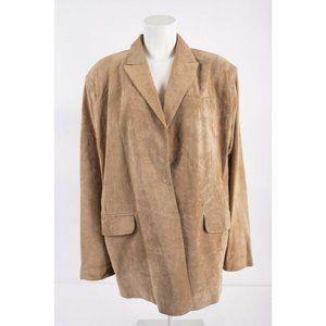 Neiman Marcus Women Tan Brown Suede Leather Blazer